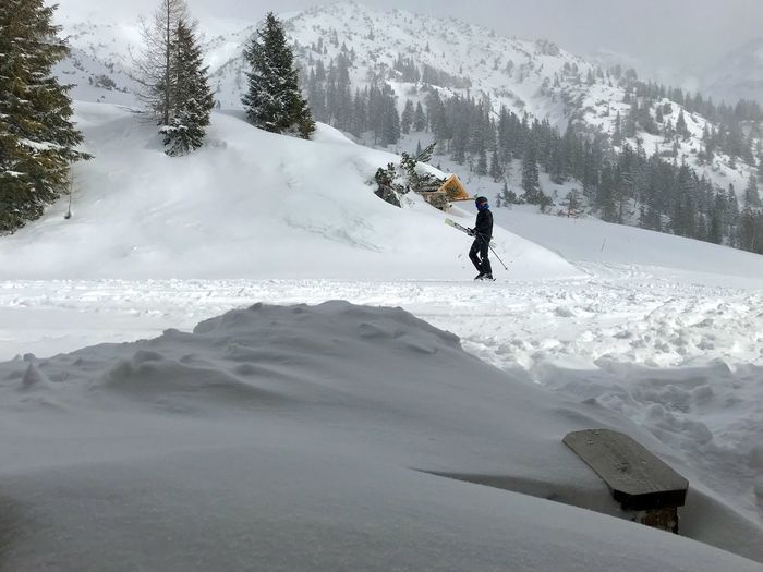 Person Walking Mountains Helmet Skiing Ski-wear Snow Snowcapped Mountain Snow Covered