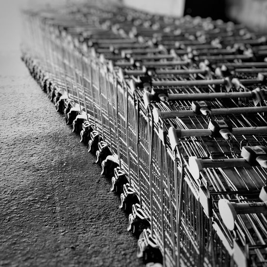 High angle view of shopping carts