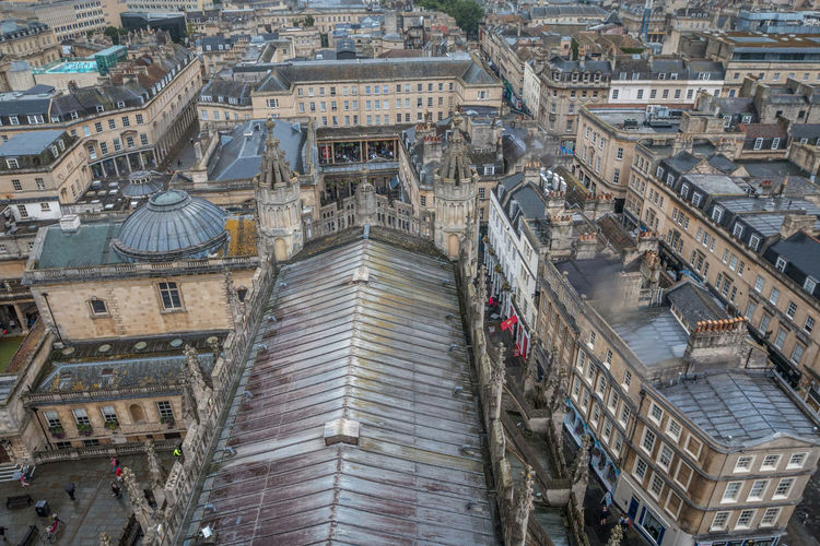 Old city of Bath in England Bath Bath England Architecture Building Building Exterior Built Structure City Cityscape Day England High Angle View History No People Outdoors Residential District Roof Tourism Transportation Travel Travel Destinations