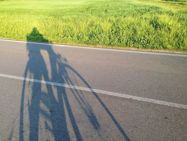 Me And My Baby <3 took a Ride By Bike Bicycle Shadow Sunlight Field Our Shadows  Green Grass