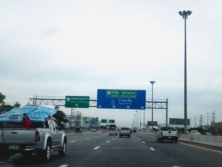 Car Transportation Land Vehicle Road Day Communication Sky Road Sign Outdoors No People High Way Express Way Thailand