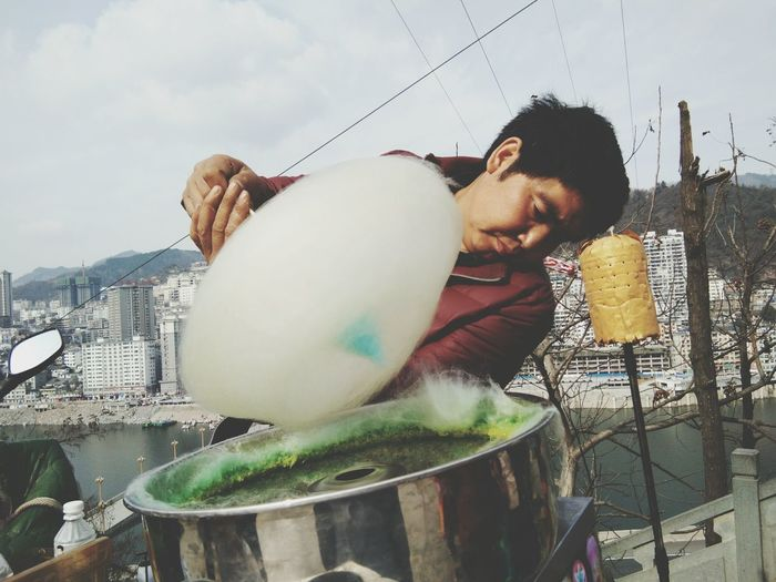 Man Preparing Cotton Candy