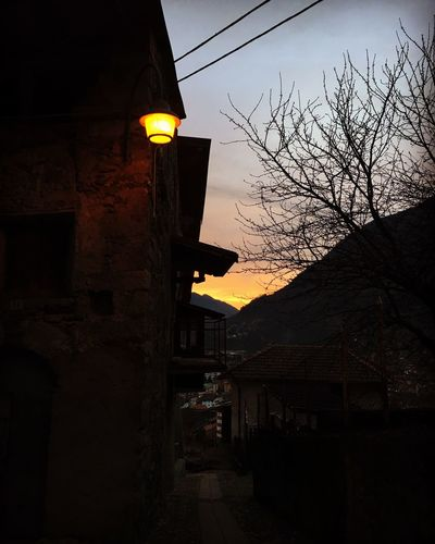 Sunset Sky Outdoors No People Illuminated Street Lamp Building Exterior Low Angle View