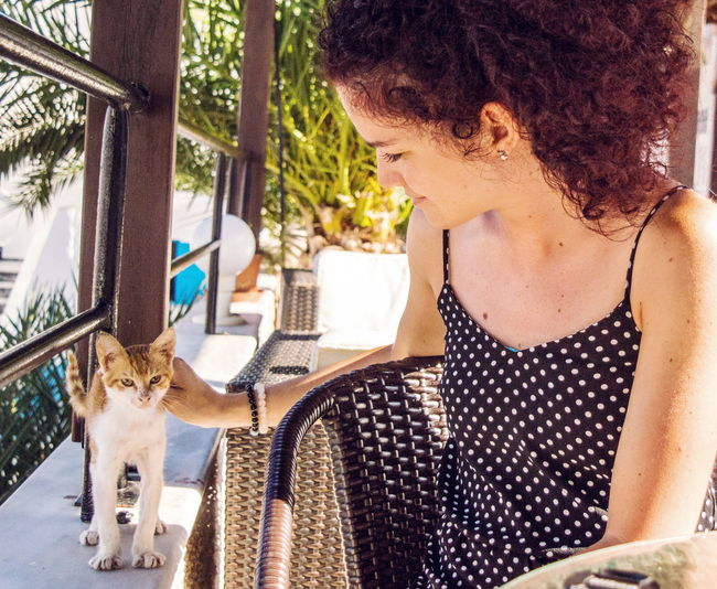 Catlady. Person Day Cat Tabby Cat Pets Animal Posing Feline Curly Hair Girl Kalymnos Greece