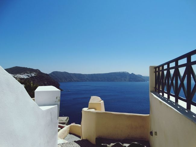 Water Day Sky Mountain Sea No People Outdoors Blue Architecture Clear Sky Nature Santorini View Blue Water Blue Sky Santorini, Greece Cyclades Islands Santorini Island Built Structure Architecture Travel Destinations Tranquility Vacations Mediteranean