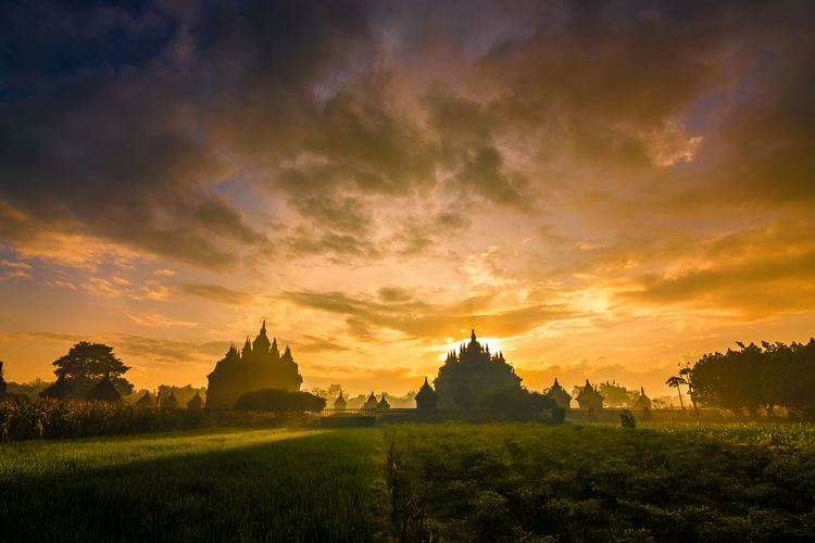 beautifull sunrise at plaosan temple Beauty Sunset Arrival Place Of Worship City Old Ruin Religion Business Finance And Industry Spirituality Rice Paddy