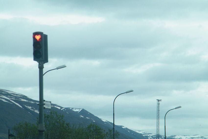 Cloudy Sky Heart Heart Shape Iceland Mountain Range Roadtrip Traffic Lights Transportation
