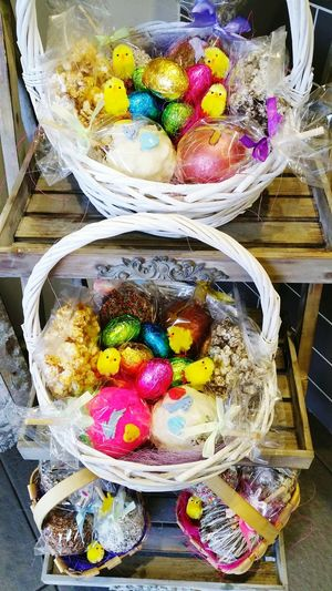 Easter Ready Easter Eggs Easter Chicks Basket Colours Colourful Easter Basket  No People Full Frame Happiness