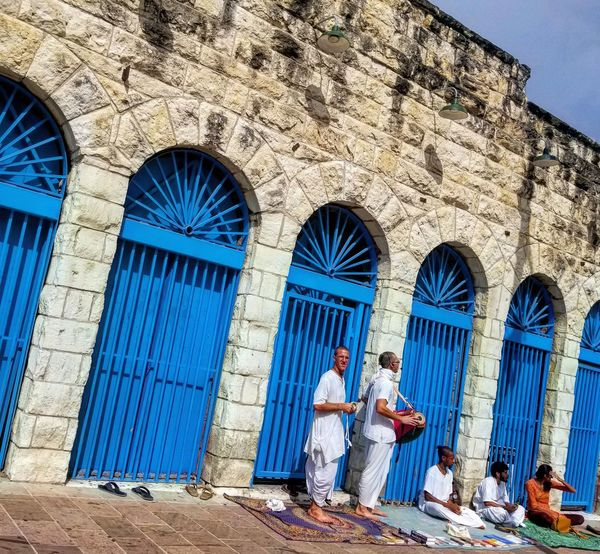 Blue Doors Day Real People Architecture Building Exterior Built Structure Outdoors Two People Full Length Blue Men People