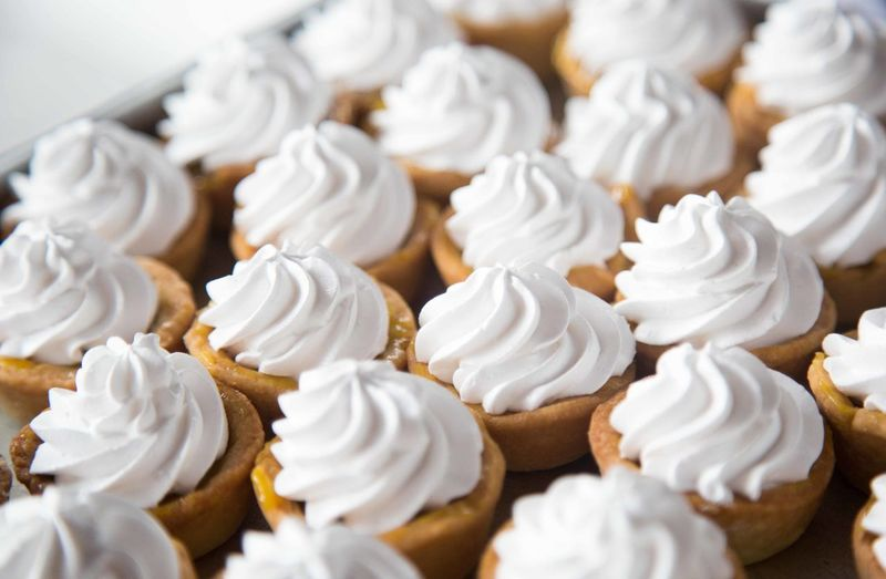 High Angle View Of Whipped Cream On Dessert