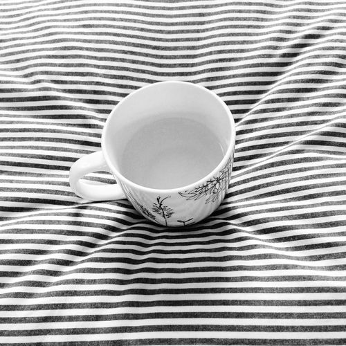 High Angle View Indoors  Food And Drink Refreshment Table Drink Cup Tea - Hot Drink Close-up No People Tablecloth Freshness Healthy Eating Day Blackandwhite Stripes Pattern Wrinkles Minimalism Minimal Bnw
