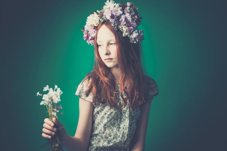 Portrait Of Girl With Flowers