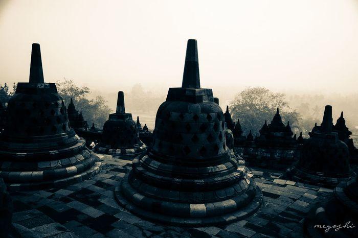 Borobudur in the morning Architecture Travel Destinations Outdoors No People Borobudur Temple Temple Architecture Templephotography Temples Temples Architecture Temples Of Indonesia