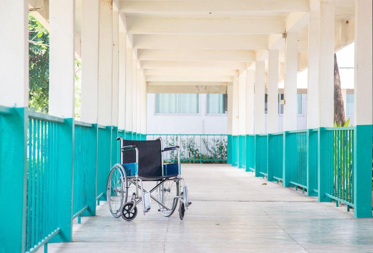 Empty corridor hospital way  with wheelchair no people