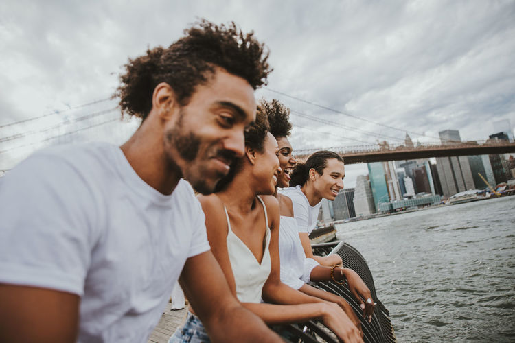 Group of friends spending time in New york city Friends Friendship America People Blackandwhite Water Man Lifestyles New York Manhattan Brooklyn Colors Street Urban New Yorker Wall African American Happiness Fun Crew Group Laughing Smile Good Mood