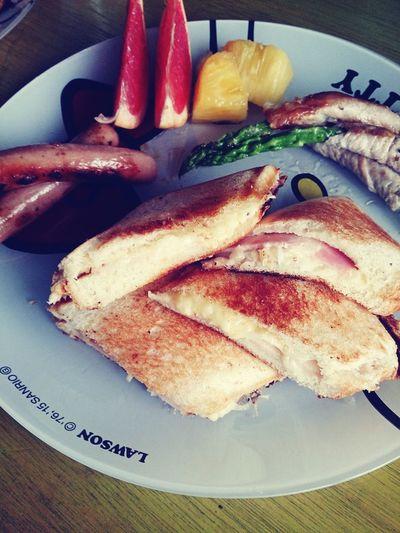 Food Porn Awards おはよ Goodmorning 朝ごはん Breakfast ベ-コンとチーズのホットサンド Sandwiches Hot Sand Bacon Cheese