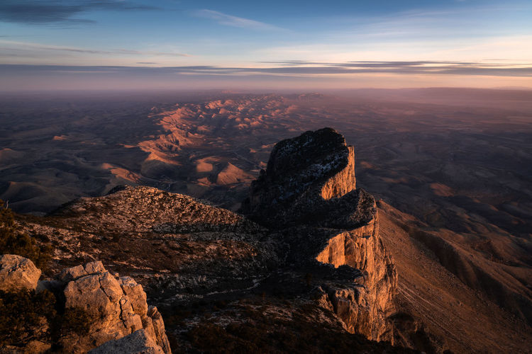 Scenic view of el capitan against sky during sunset in guadalupe mountain national park - texas
