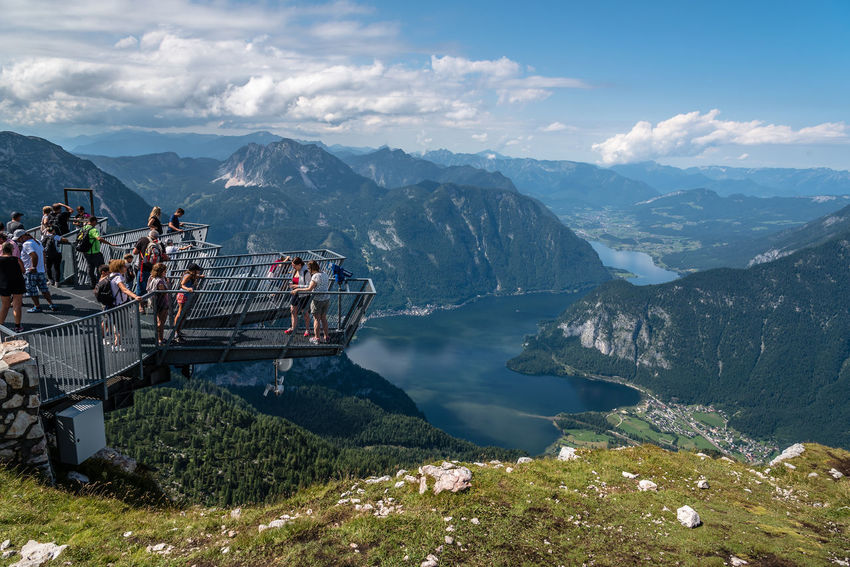 Five Fingers viewpoint over Hallstatt Five Fingers Sightseeing Architecture Beauty In Nature Built Structure Cloud - Sky Day Group Of People Hallstatt Landscape Large Group Of People Men Mountain Mountain Range Nature Outdoors People Physical Geography Point Of View Real People Scenics Sky Tranquil Scene Tranquility Tree Viewpoint Water Women