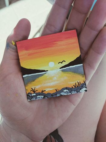 Painting Acrylics Sunset Skyline Tiny Fridgemagnet