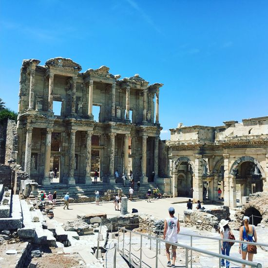 People At Library Celsus Against Blue Sky