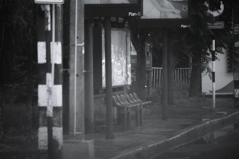 Indoors  No People Window Day Blackandwhite Black & White Street Rain Town Busstop Streetside