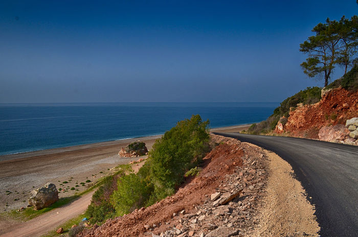 Road to good trip Pine Pine Tree Road Trip Road To Nowhere Roadtrippin' Blue Sky Mediterranean  Mediterranean Sea Backpack Backpacking Lycianway EyeEm Nature Lover Landscape Landscape_Collection HDR Hdr_Collection Road Adventure Backpacking Turkey Rocky Coastline Seascape Bay Of Water Panoramic