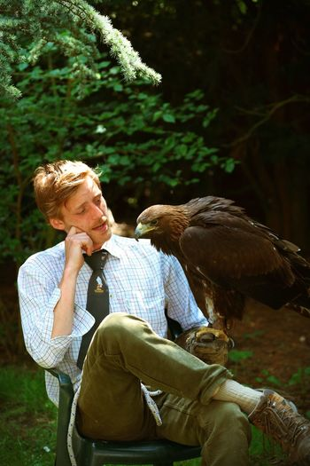 Man With Golden Eagle On Field