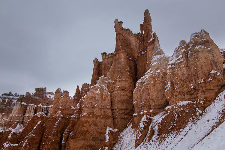 Panoramic view of rock formation against sky during winter