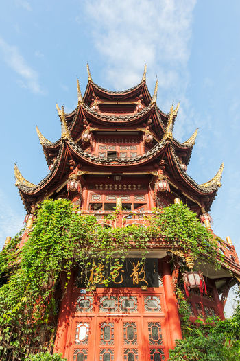 chinese architecture Chinese Architecture Architecture Art And Craft Belief Building Building Exterior Built Structure Cloud - Sky Day Eaves Low Angle View Nature No People Ornate Outdoors Place Of Worship Plant Religion Roof Shrine Sky Spirituality