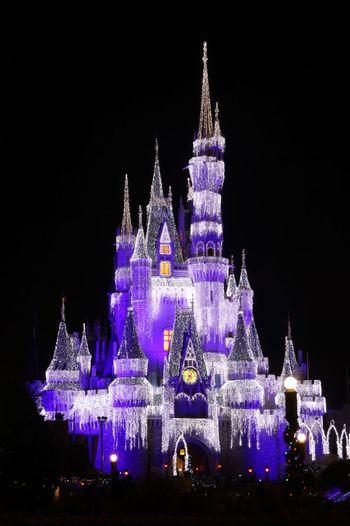 Looking Up Enjoying Life My Disneyside Colors Cinderellas' Castle long exposure
