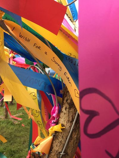 EyeEm Selects Ribbon Close-up Wish Tree Multi Colored Outdoors No People Bright Colors Text Message Wishes Ribbons Blowing