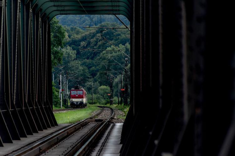 Railroad track seen through train