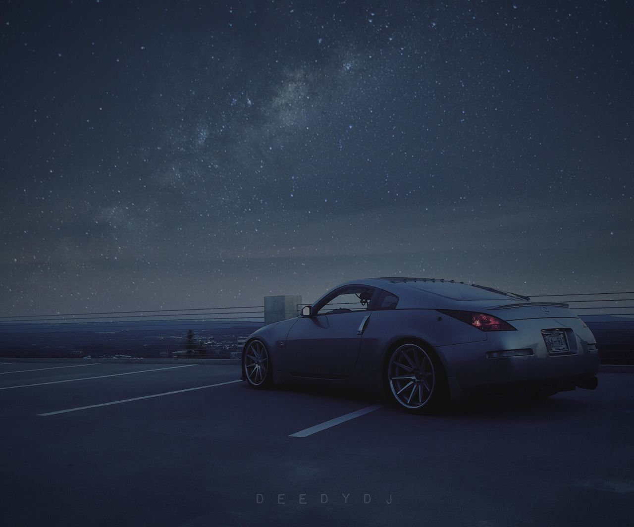 car, transportation, road, star - space, land vehicle, no people, road trip, night, sky, nature, scenics, outdoors, beauty in nature, horizon over water, water, galaxy, astronomy