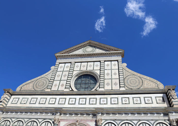 Florence decorated facade of ancient Church called Santa Maria Novella near the train station of Florence Architecture Basilica Church City Firenze Florence Churces Travel Tuscany Florence Landmark Santa Maria Novella Tourism Trafvel
