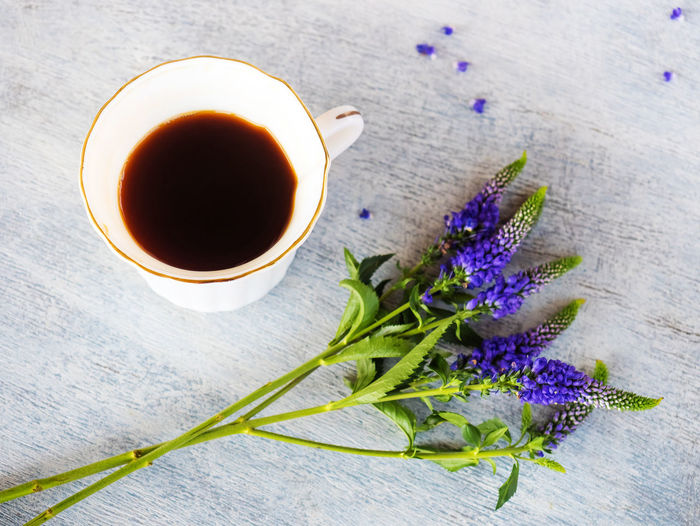 Flowering Plant Flower Freshness Plant Food And Drink Cup Table Nature Drink Close-up Mug Refreshment Tea Purple Beauty In Nature High Angle View No People Petal Inflorescence Indoors  Flower Head Tea Cup Crockery