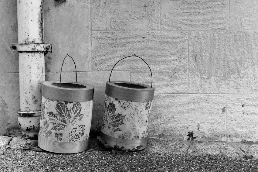 Hidden fire Discarded Forgotten Lampions Lantern St. Martin's Day Toys Wall Architecture Blackandwhite Close-up Day Floral Pattern Handles Monochrome No People Outdoors Pair Two