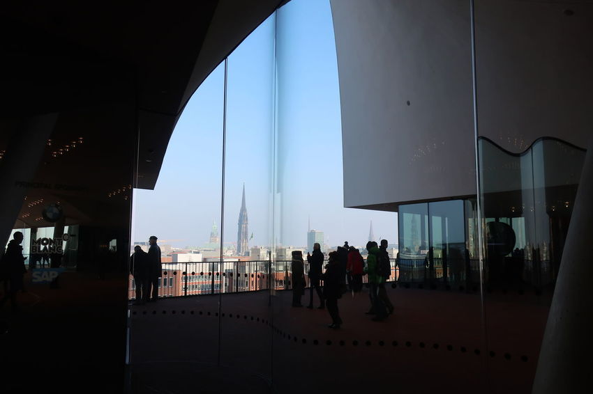 View Viewpoint Hamburger Hafen Harbour Outdoors Elbphilharmonie Hamburg Elbphilharmonie Plaza Hamburg Adult Architecture Building Exterior Built Structure City Day Elbphilharmonie Indoors  Large Group Of People Leisure Activity Lifestyles People Real People Sky Travel Destinations