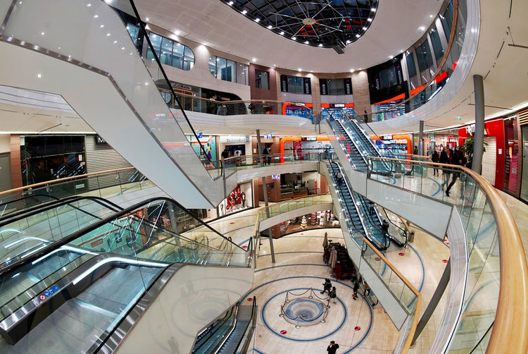 High angle view of escalator in shopping mall