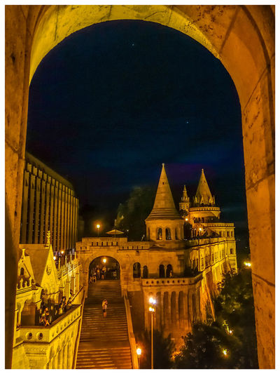 The stairs. Travel Destinations Turistic Attractions Tredition Hungary Illuminated City Arch Architecture Building Exterior Built Structure Sky