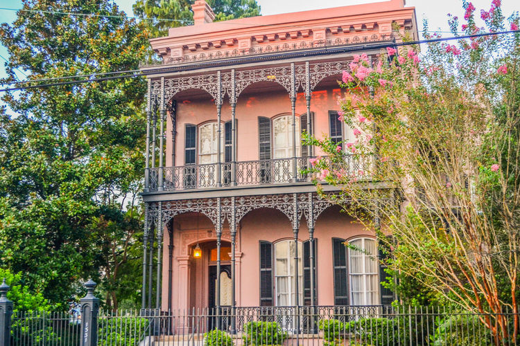 Garden District, New Orleans New Orleans, LA Pink Pink House Arch Architectural Column Architecture Balcony Building Exterior Built Structure Day Garden District Growth History Low Angle View No People Outdoors Sky Travel Destinations Tree