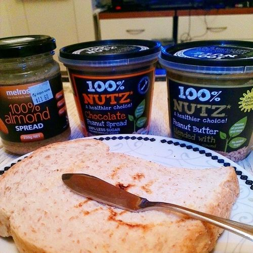 Making life's choice...1 Wholemealtoast 3 Spreads Melrosealmondspread 100percentnutz fitpeopleissues