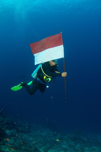 A Patriotic diver on Indonesian independence day - Nusa Penida - Bali - Indonesia Bali Bali, Indonesia Diving INDONESIA Indonesian Patriotic SCUBA Scuba Diving Beauty In Nature Colorful Coral Coral Reef Fish Flag Indonesia Independen Day Marie Nature Nusa Penida Ocean Reef Snokeling Tropical Tropical Reef Underwater underwater photography