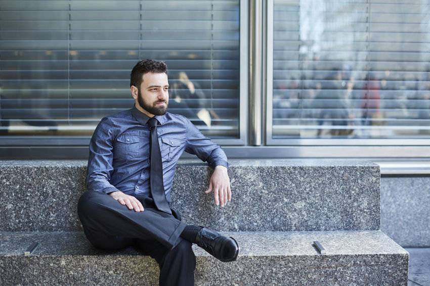 Beard Bench Blue Brazilian Business Business Business Man Businessman Confidence  Day Entrepreneur Finance Handsome Man Sitting Sitting Start Up Technology Urban Well-dressed Young Man