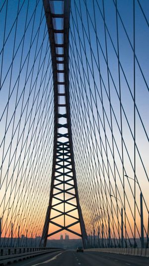 Cable-Stayed Bridge Against Sky