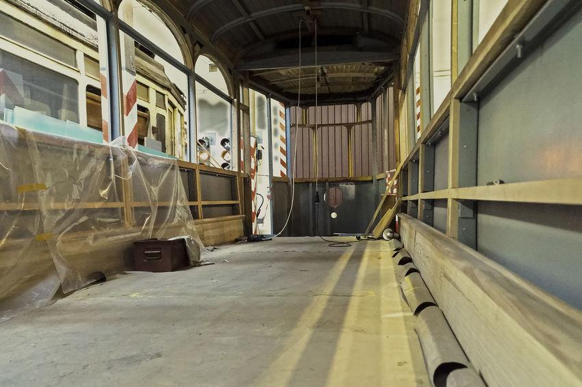 Straßenbahn-Museum. Alte Tram von innen, wird restauriert. Day HDR Music No People Oldie  Public Transport Railing Restauration Straßenbahn Surface Level Tram Transportation Window