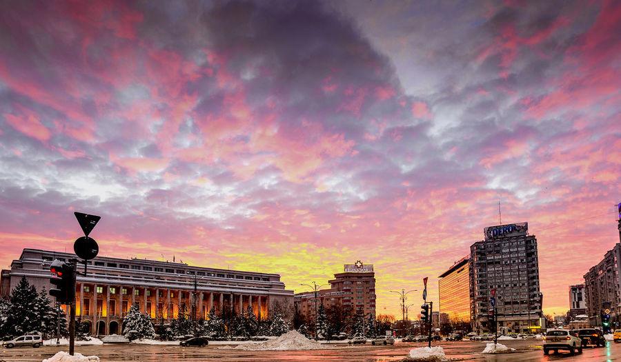 Architecture Bucharest Building Exterior City Cityscape Cloud - Sky Colors Romania Sky Sky And Clouds Sky Collection Square Sunrise Urban Urban Exploration Urban Landscape