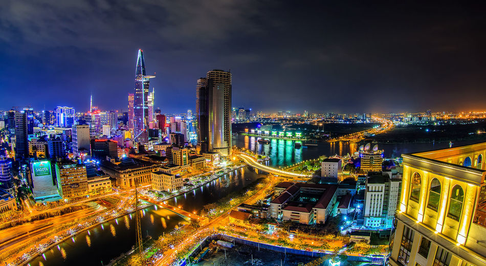 Architecture Building Exterior City City Life Cityscape Cultures Downtown District Futuristic Growth Illuminated Modern Night No People Office Building Exterior Outdoors Road Sky Skyscraper Travel Destinations Urban Skyline