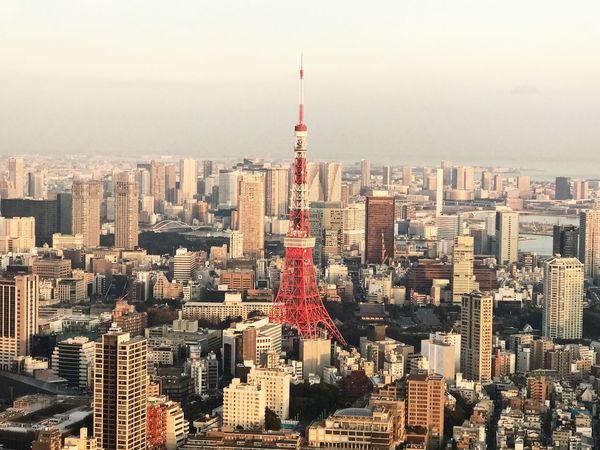 Tokyo Tower City Cityscape Architecture Building Exterior Skyscraper Tower Travel Destinations Outdoors Urban Skyline Downtown District Built Structure