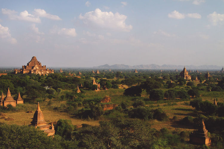 High angle view of bagan temples in burma