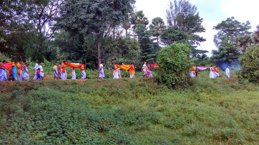 Day Durgapuja Growth Hindu In A Row Large Group Of People Multi Colored Nature Outdoors Real People Ritual Sky Tree Variation